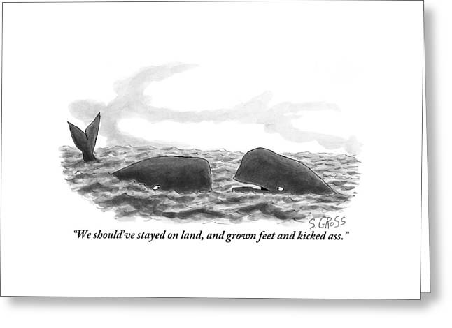 Two Whales Are Seen In Water In Conversation Greeting Card by Sam Gross