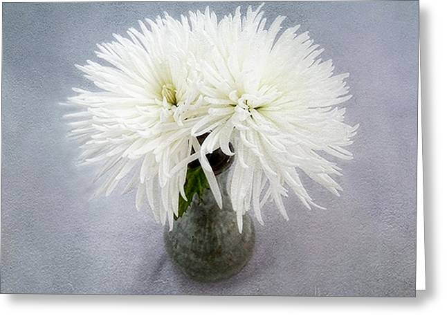 Two White Mums In Green Vase Still Life Greeting Card
