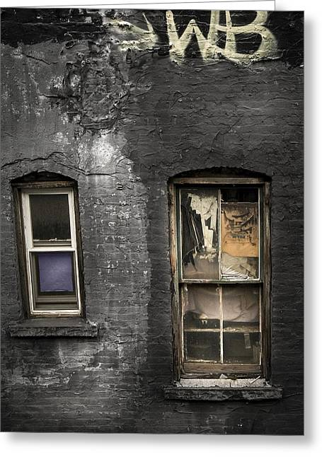 Two Windows Old And New - Old Building In New York Chinatown Greeting Card by Gary Heller