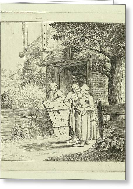 Two Women And A Man On A Farm, Marie Lambertine Coclers Greeting Card by Marie Lambertine Coclers