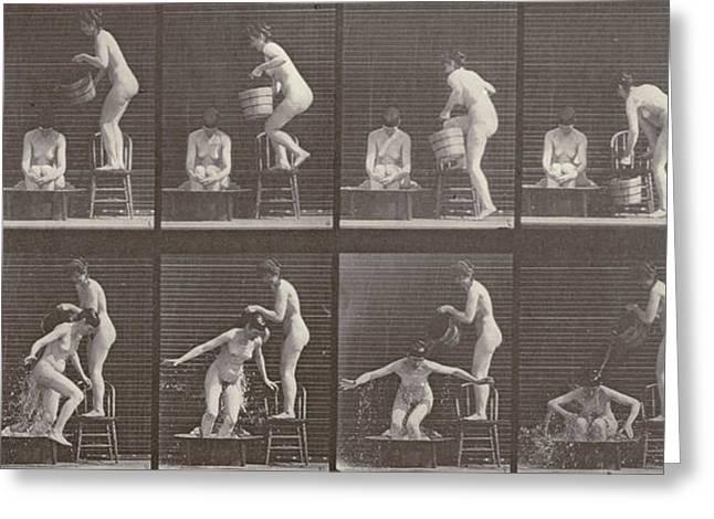 Two Women Bathing Greeting Card by Eadweard Muybridge