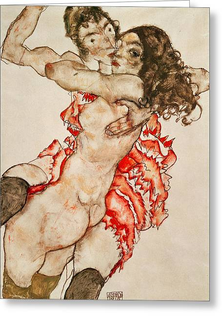 Two Women Embracing Greeting Card by Egon Schiele