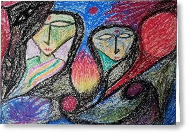 Two Women Greeting Card by Hari Om Prakash
