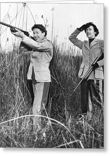 Two Women Hunting Greeting Card by Underwood Archives