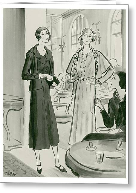 Two Women In A Restaurant Wearing Dresses Greeting Card by Ren? Bou?t-Willaumez