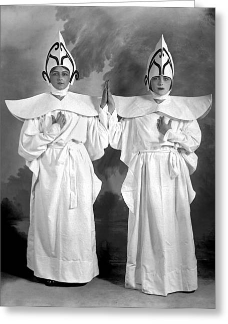Two Women In Matching Costumes Greeting Card by Fred Hartsook