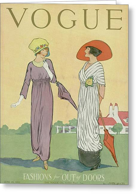 Two Women In Spring Clothing Greeting Card by Helen Dryden