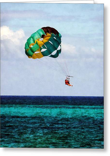 Two Women Parasailing In The Bahamas Greeting Card by Susan Savad