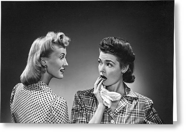 Two Women Talking Greeting Card by Underwood Archives