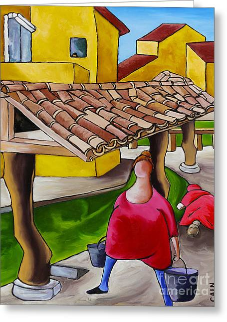 Two Women Under Tile Roof Greeting Card by William Cain