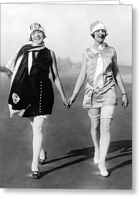 Two Women Walking On Beach Greeting Card by Underwood Archives