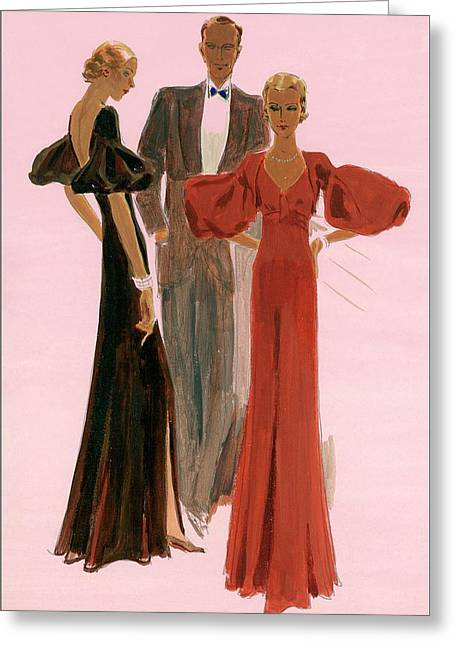 Two Women Wearing Mainbocher Evening Gowns Greeting Card by Eduardo Garcia Benito