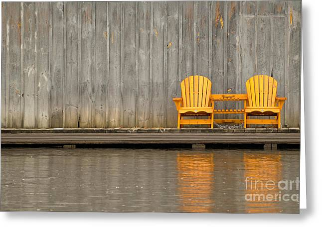 Two Wooden Chairs On An Old Dock Greeting Card