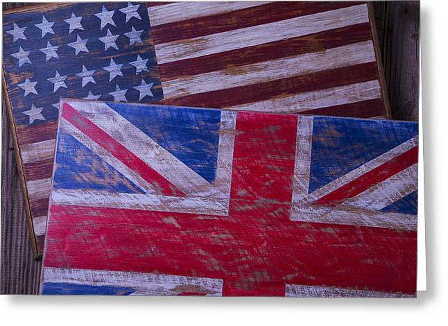 Two Wooden Flags Greeting Card