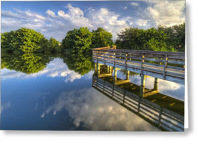 Two Worlds At Wakodahatchee Greeting Card by Debra and Dave Vanderlaan