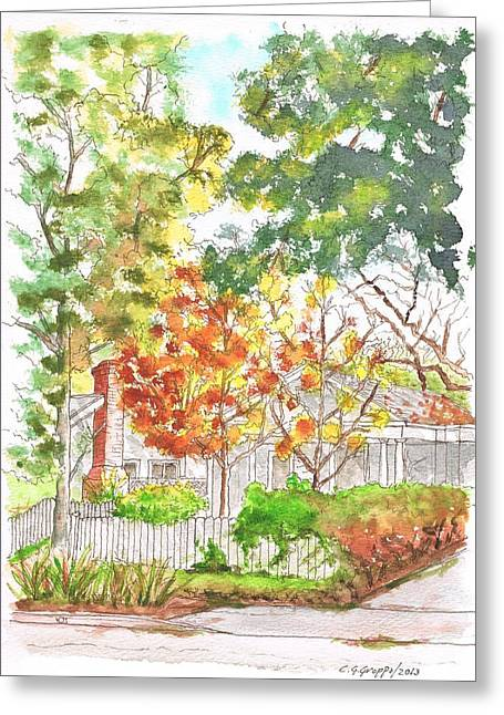 Two Yellow Trees In West Hollywood - California Greeting Card
