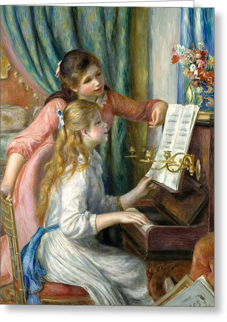 Two Young Girls At The Piano Greeting Card by Pierre-Auguste Renoir