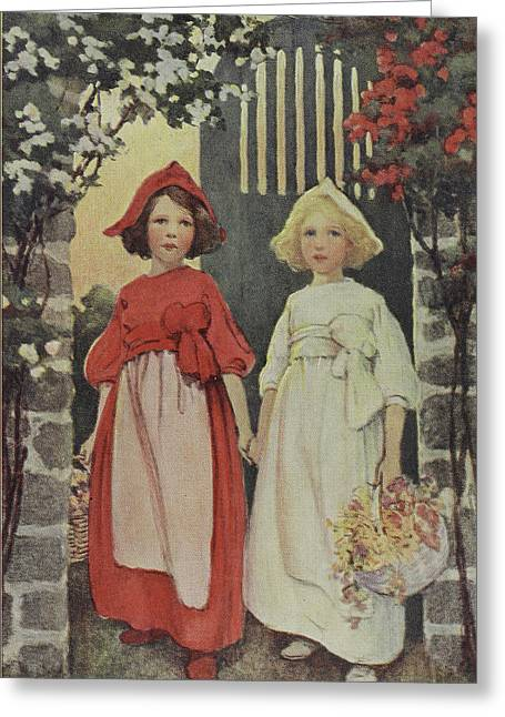 Two Young Girls Greeting Card