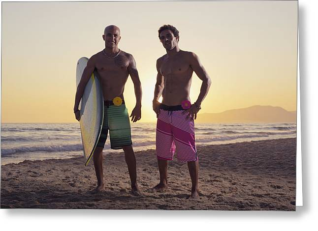 Two Young Men Standing On The Beach Greeting Card by Ben Welsh
