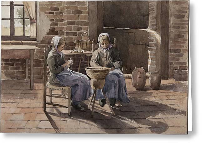 Two Young Women Peeling Potatoes  Greeting Card by Henri Duhem