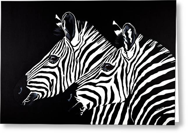 Two's Company Greeting Card by Karen  Loughridge KLArt