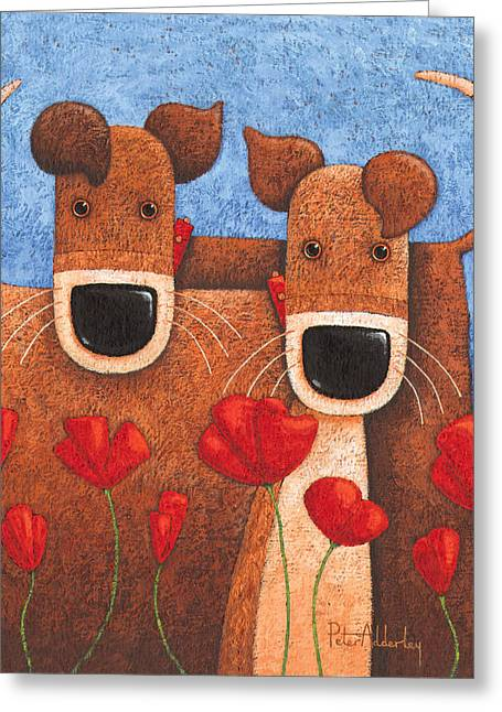 Twos Company Greeting Card by Peter Adderley