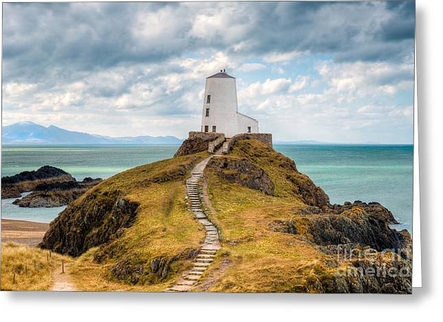 Twr Mawr Path Greeting Card by Adrian Evans