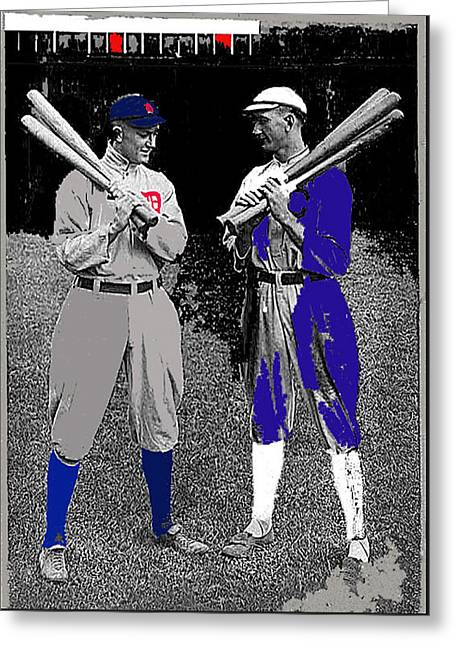 Ty Cobb And Shoeless Joe Jackson Cleveland 1913-2014 Greeting Card by David Lee Guss