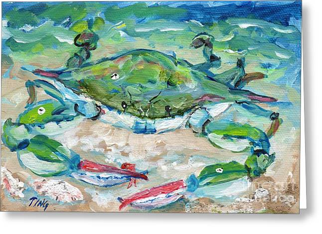 Greeting Card featuring the painting Tybee Blue Crab Mini Series by Doris Blessington