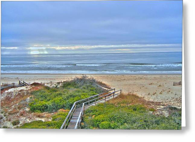Tybee Island Beach And Boardwalk Greeting Card by Donald Williams