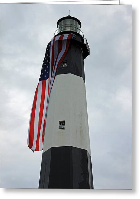 Tybee Island Lighthouse - Red White And Blue Detail Greeting Card by Suzanne Gaff