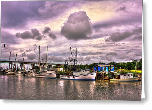 The Waiting Tybee Islands' Agnes Marie Shrimp Boat Art Greeting Card by Reid Callaway