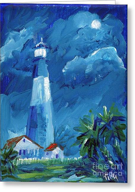 Greeting Card featuring the painting Tybee Lighthouse Night Mini by Doris Blessington