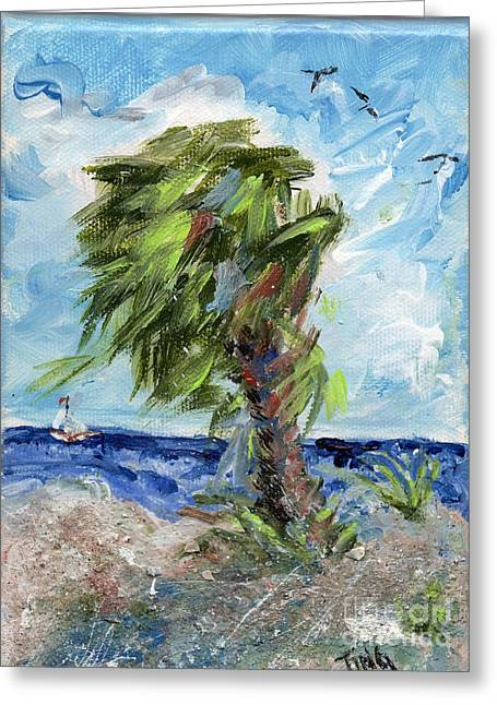 Greeting Card featuring the painting Tybee Palm Mini Series 1 by Doris Blessington