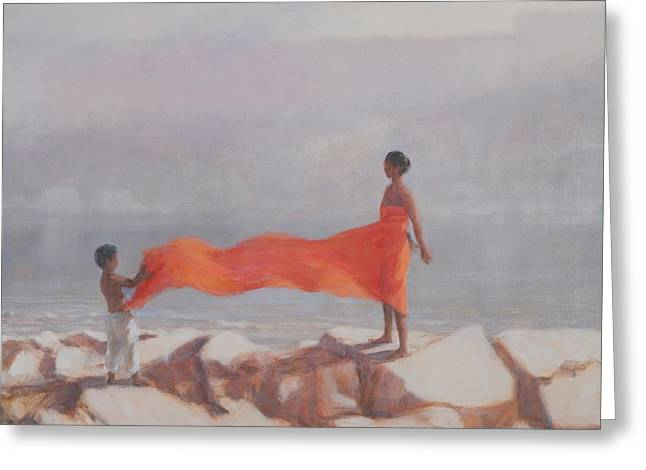 Tying A Sari, India, 2012 Acrylic On Canvas Greeting Card by Lincoln Seligman