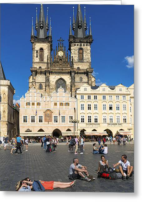 Tyn Church In Prague Czech Republic Europe Greeting Card