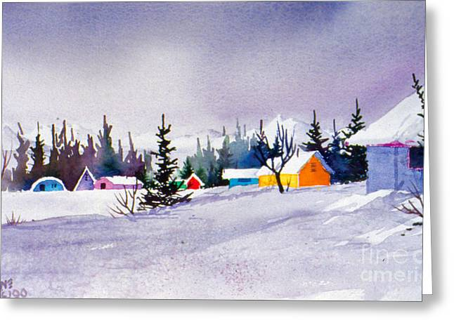 Greeting Card featuring the painting Tyonek Village Impression by Teresa Ascone