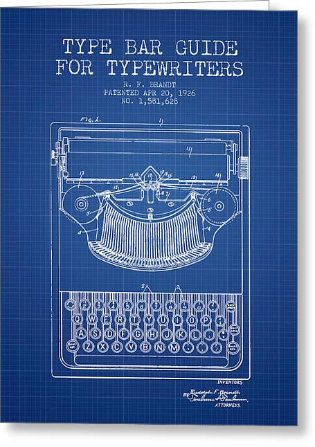 Type Bar Guide For Typewriters Patent From 1926 - Blueprint Greeting Card by Aged Pixel