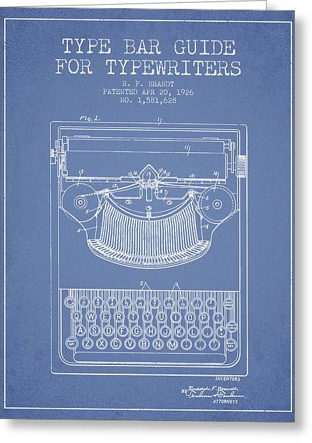 Type Bar Guide For Typewriters Patent From 1926 - Light Blue Greeting Card by Aged Pixel