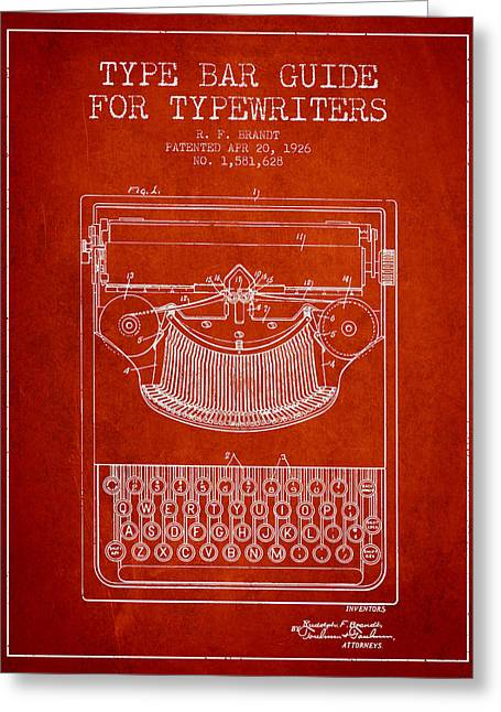 Type Bar Guide For Typewriters Patent From 1926 - Red Greeting Card by Aged Pixel