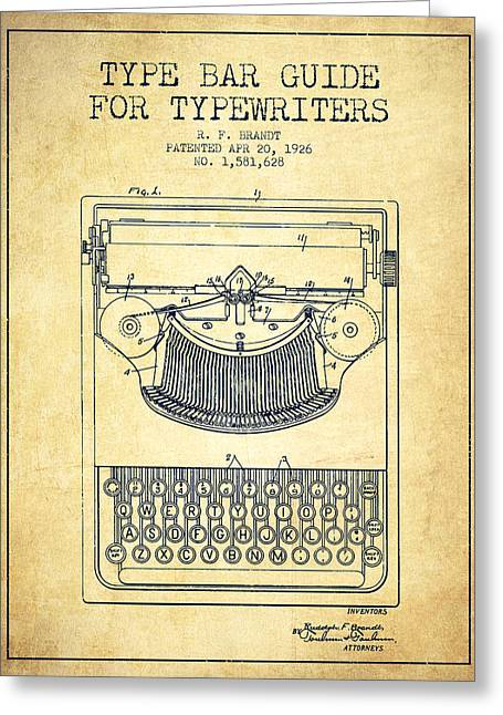 Type Bar Guide For Typewriters Patent From 1926 - Vintage Greeting Card by Aged Pixel