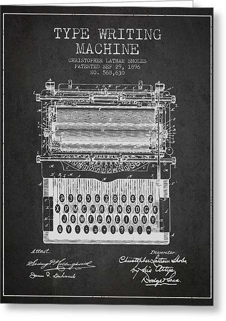Type Writing Machine Patent From 1896 - Charcoal Greeting Card by Aged Pixel