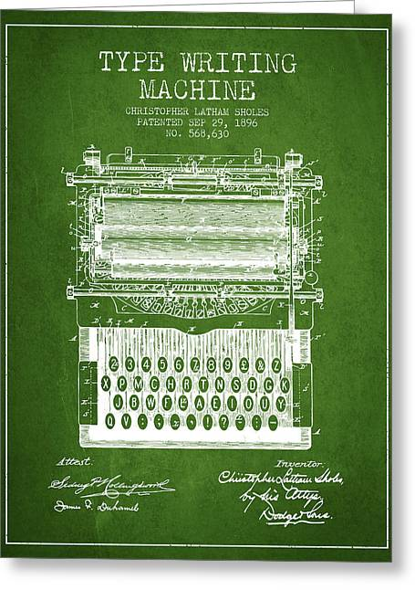 Type Writing Machine Patent From 1896 - Green Greeting Card by Aged Pixel