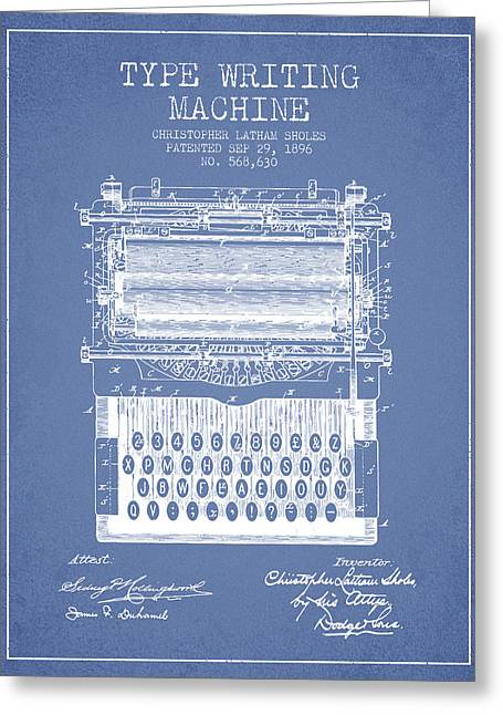 Type Writing Machine Patent From 1896 - Light Blue Greeting Card by Aged Pixel