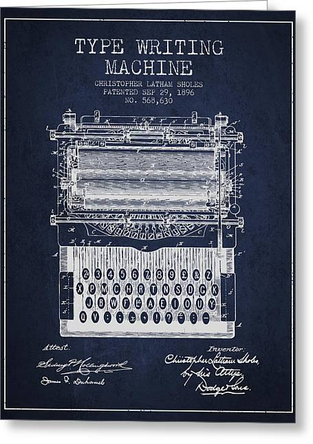 Type Writing Machine Patent From 1896 - Navy Blue Greeting Card by Aged Pixel