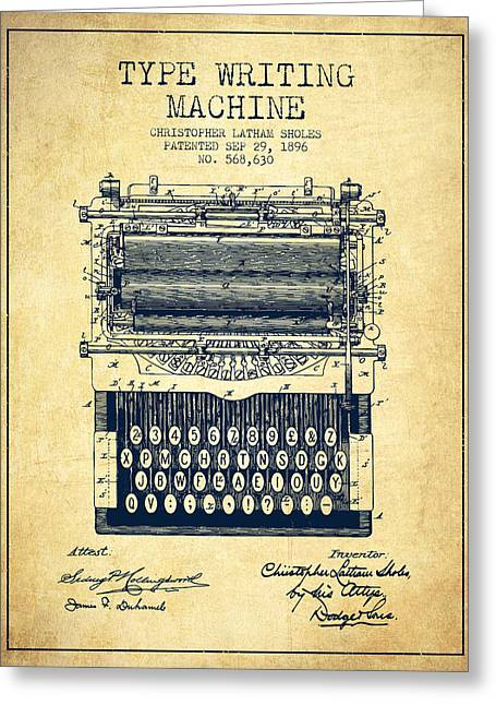 Type Writing Machine Patent From 1896 - Vintage Greeting Card by Aged Pixel
