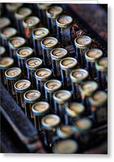 Typewriter Keys Greeting Card by David and Carol Kelly