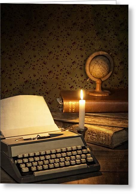 Typewriter With Globe Greeting Card