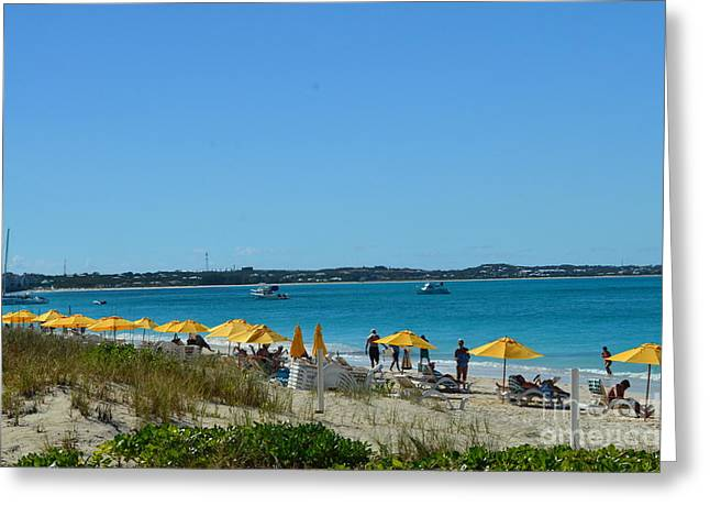 Typical Beach Day Greeting Card by Judy Wolinsky