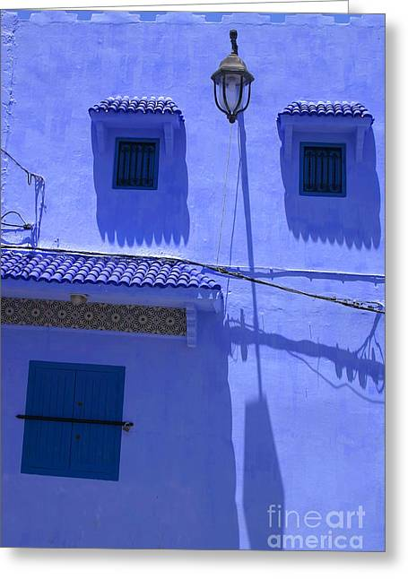Typical Blue Facade In The Medina Of Asilah On Northwest Tip Of Atlantic Coast Of Morocco Greeting Card by Ralph A  Ledergerber-Photography